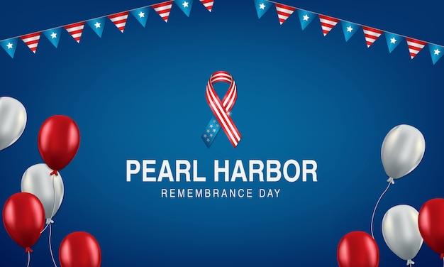 Pérola, porto, lembrança, dia, fundo, com, laço, e, bandeira americana, bunting