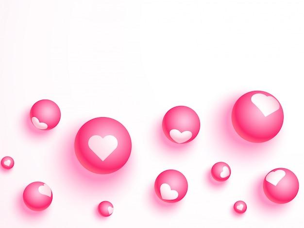 Pérola rosa com ilustração de forma de coração no fundo branco para