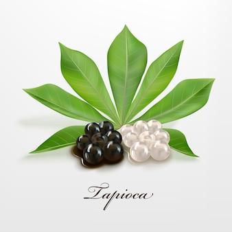 Pérolas de tapioca preto e branco