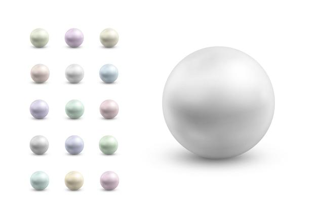 Pérolas esféricas de cores diferentes gema preciosa de nácar redondo colorido conjunto de bolas de metal