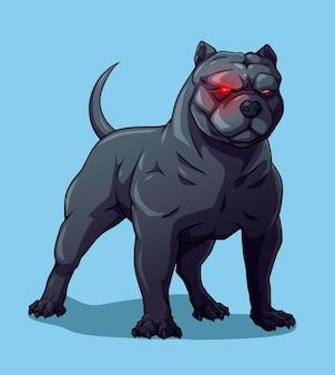 Perro americano valentão pitbull negro ojos rojos