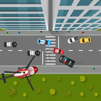 Perseguição policial vista superior ilustração