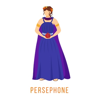 Persephone plana. divindade da grécia antiga. mitologia. deusa. rainha do submundo. figura mitológica divina. personagem de desenho animado isolada em fundo branco