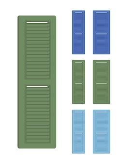 Persianas de madeira, conjunto exterior da casa. decoração interior do apartamento e protecção solar do edifício. ilustração em vetor estilo simples dos desenhos animados isolada no fundo branco, diferentes pontos de vista, cores