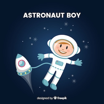 Personagem adorável astronauta com design plano