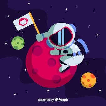 Personagem adorável astronauta com design plano