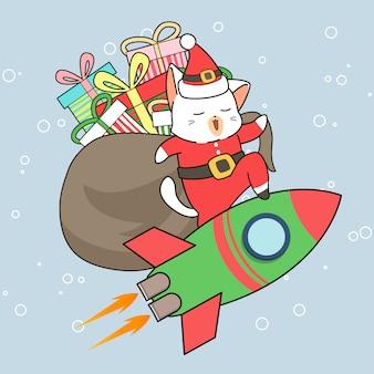 Personagem adorável gato santa com presentes está montando um foguete