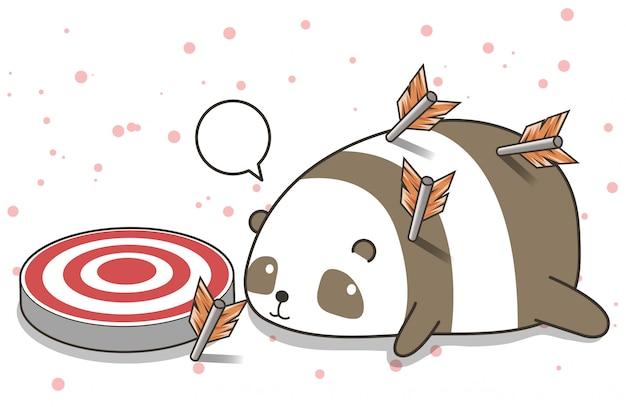 Personagem adorável panda com setas