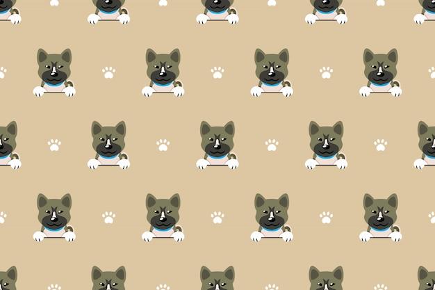 Personagem akita inu cachorro sem costura de fundo
