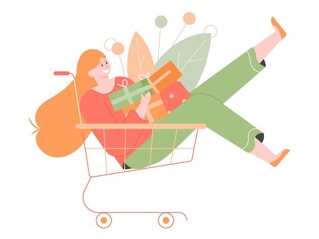 Personagem alegre menina colorida em um carrinho de compras. uma montanha de presentes e compras. descontos e vendas.