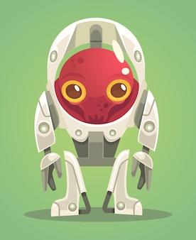 Personagem alienígena em traje espacial.