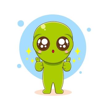 Personagem alienígena fofo com o polegar para cima