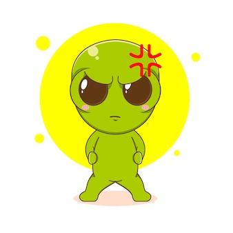 Personagem alienígena fofo e zangado