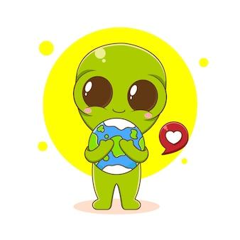 Personagem alienígena fofo segurando a terra