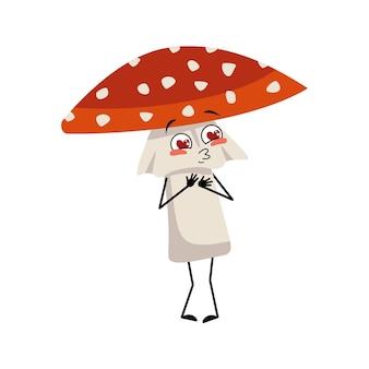 Personagem amanita bonito se apaixona por olhos, corações, beijo rosto, braços e pernas voam cogumelo agaric ...