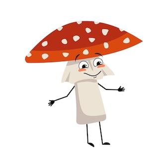 Personagem amanita fofo com emoções alegres, sorriso, rosto, olhos felizes, braços e pernas voam cogumelo agaric ...