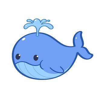 Personagem animal uma baleia azul bombeando água em sua cabeça personagem de desenho animado plana