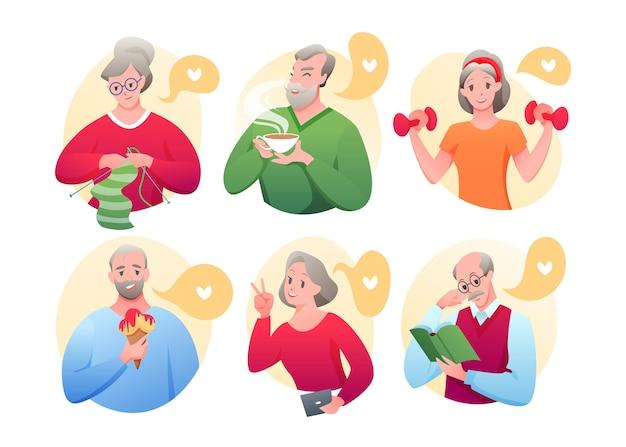 Personagem antigo fazendo exercícios esportivos, tricô, networking, tomando sorvete, bebendo chá, lendo