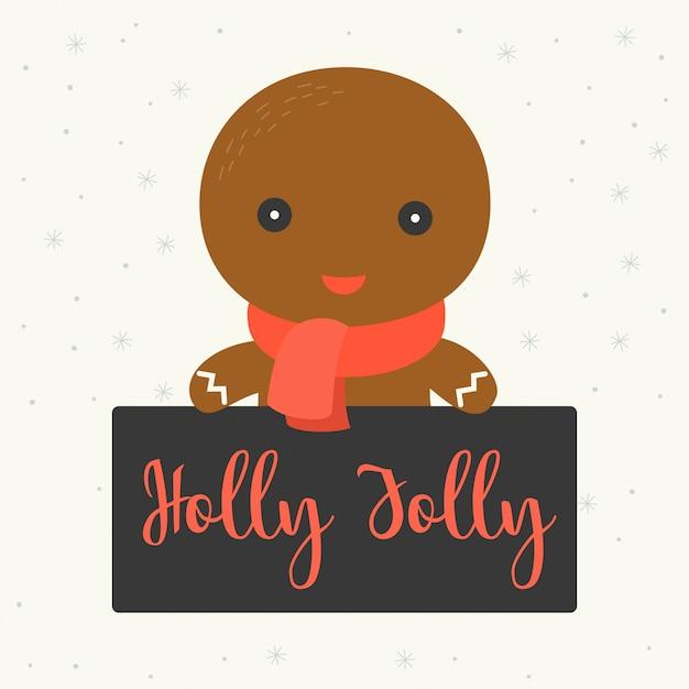 Personagem bonita com placa para cartaz de natal ou banner