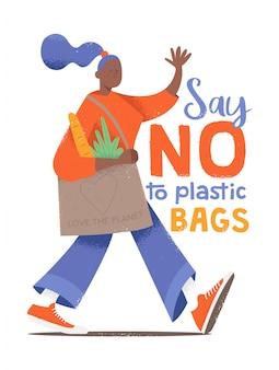 Personagem bonita de jovem andando com saco ecológico no estilo cartoon de hipster com texturas e a frase