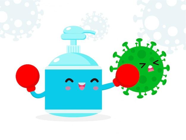 Personagem bonito de álcool gel. luta de gel de lavagem das mãos com coronavírus (2019-ncov), ataque de gel de álcool covid-19, proteção contra vírus e bactérias, estilo de vida saudável, isolado no fundo branco
