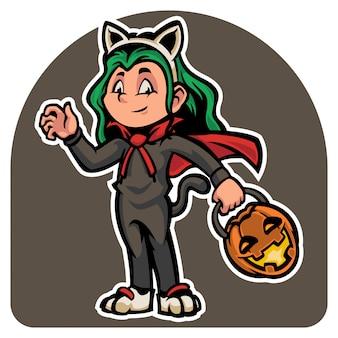 Personagem bonito do dia das bruxas em traje de gatos maus