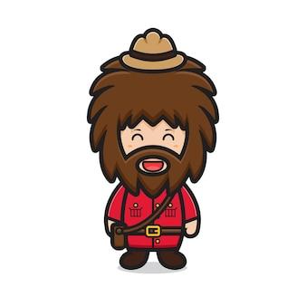 Personagem bonito do homem das cavernas celebrando o dia do canadá ilustração
