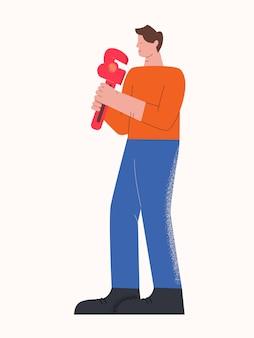 Personagem casual masculino, sorrindo, encanador, carregando a ferramenta isolada no branco