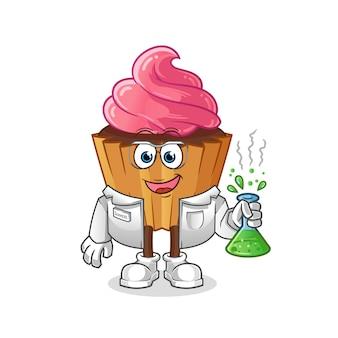 Personagem cientista de cup cake