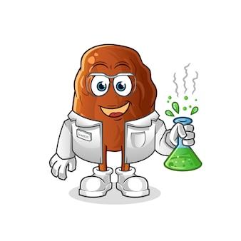 Personagem cientista de frutas tâmaras