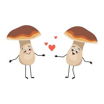 Personagem cogumelo com emoções de amor sorriso rosto braços e pernas uma comida saudável saudável