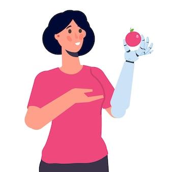 Personagem com braço biônico ou mão mecânica robótica, conceito de prótese. ilustração vetorial isolada