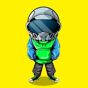 Personagem com cabeça de robô e streetwear urbano