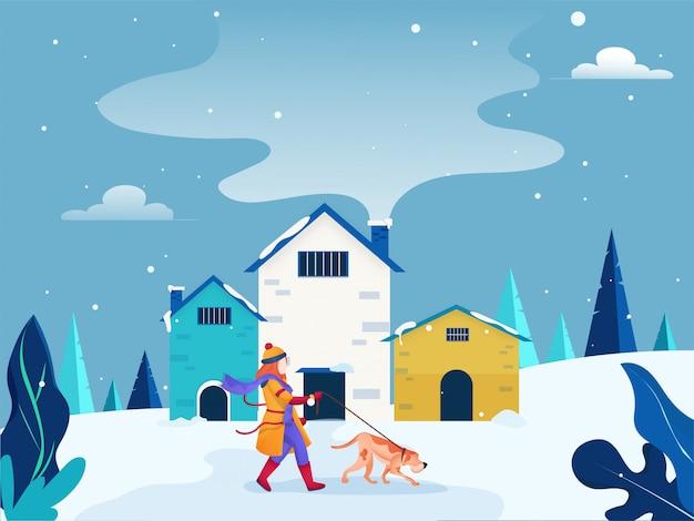 Personagem com cachorro passear na neve