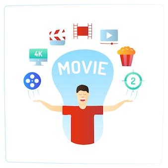 Personagem com ícone de doodle de filme de cinema de produção de vídeo