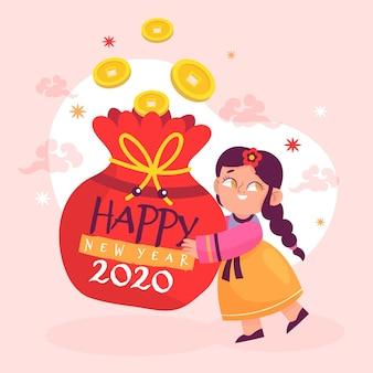 Personagem com sorte dinheiro ano novo coreano