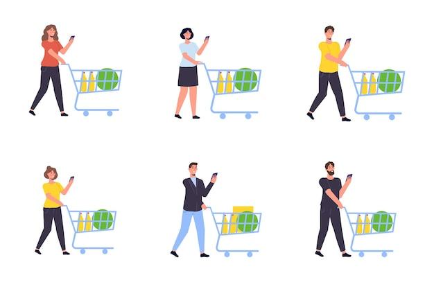 Personagem com um carrinho de compras de supermercado. ilustração vetorial isolada