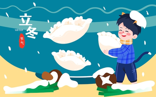 Personagem comendo bolinhos ilustração solstício de inverno termos solares festival da primavera cartaz de comida