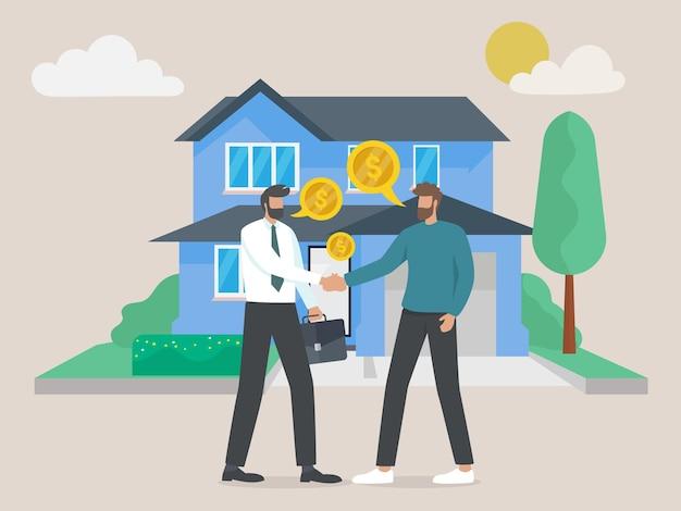 Personagem comprando casa hipotecária e apertando as mãos com o agente imobiliário, investir dinheiro em bens imobiliários.