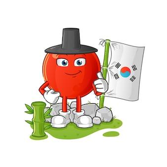 Personagem coreana cereja. mascote dos desenhos animados