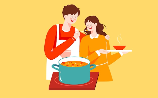 Personagem cozinha ilustração comida feriado jantar em família comer saudável pôster
