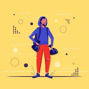 Personagem criminosa segurando sacos de dinheiro com ladrão de cifrão carregando sacos cheios de esboço de comprimento total de conceito de roubo de dólares