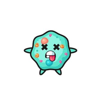 Personagem da ameba fofa com pose de morto, design de estilo fofo para camiseta, adesivo, elemento de logotipo