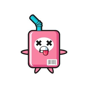 Personagem da caixa de leite fofa com pose de morto, design de estilo fofo para camiseta, adesivo, elemento de logotipo