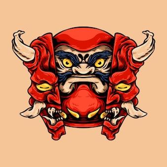 Personagem da mascote da máscara daruma e oni
