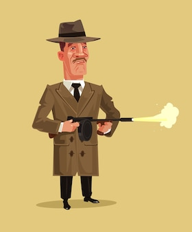 Personagem da mascote do gangster retro da velha escola atirando com a arma. quebra de tiro de batalha do gueto do crime