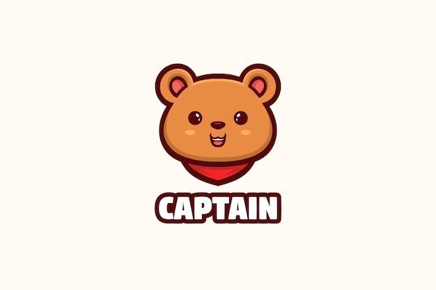 Personagem da mascote do logotipo do ursinho fofo
