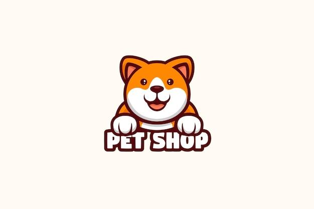 Personagem da mascote do logotipo do veterinário da loja de animais