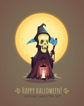 Personagem da morte com uma foice. conceito de personagem de desenho animado de halloween. ilustração.