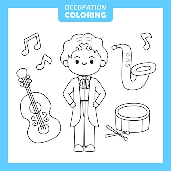 Personagem da página para colorir de ocupação